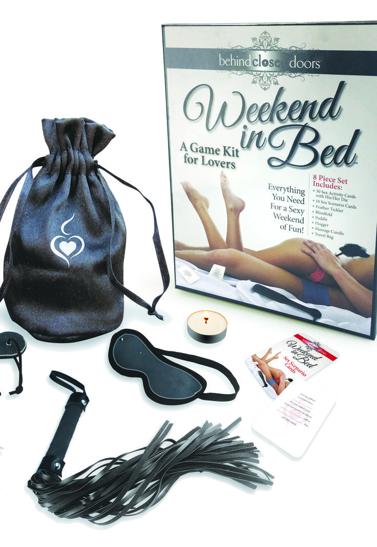 The perfect lingerie shower gift for the Bride, this weekend in Bed kit has fun toys the newlyweds will love!