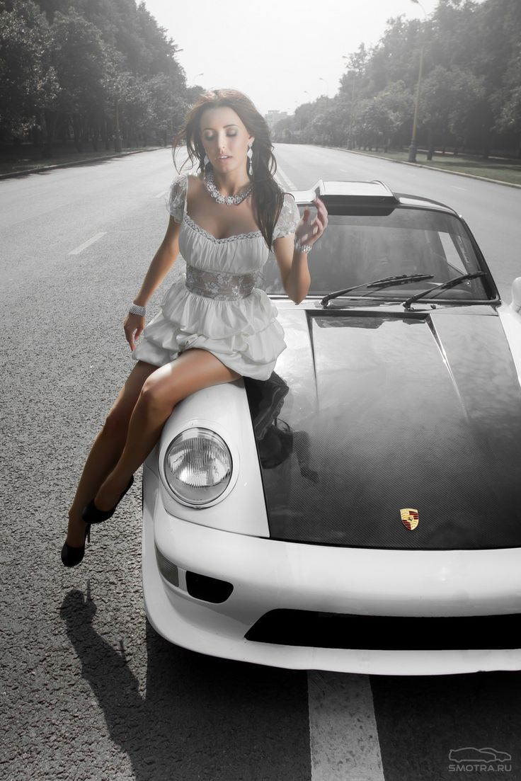 356 Porsche For Sale >> Sexy girl with black & white Porsche | Model, Samochody