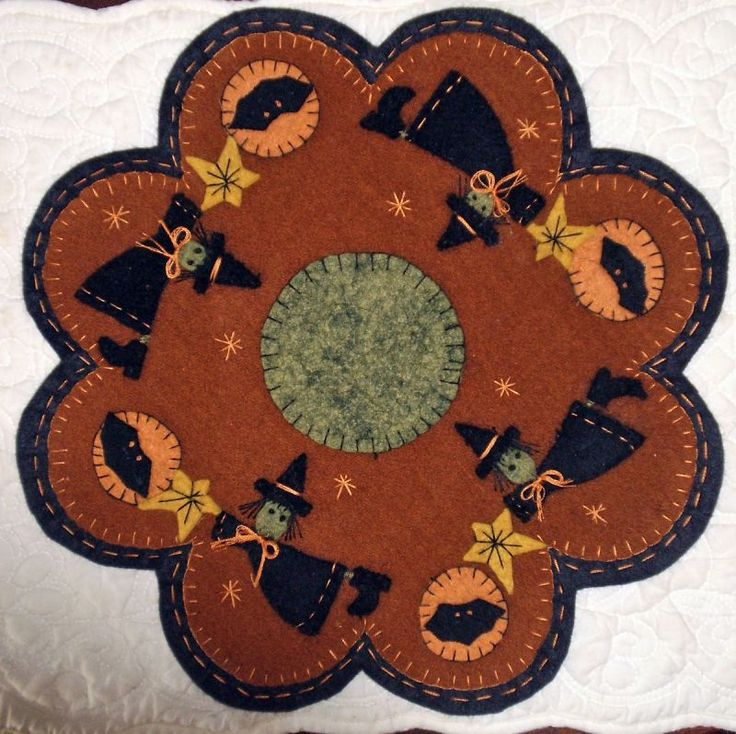image detail for flying witches wool penny rug - Halloween Rugs