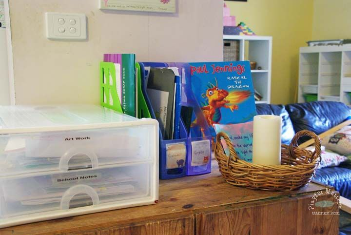 Here are ideas and tips for organising school papers and kids art work, so you can keep track of your kids school work they bring home each day.