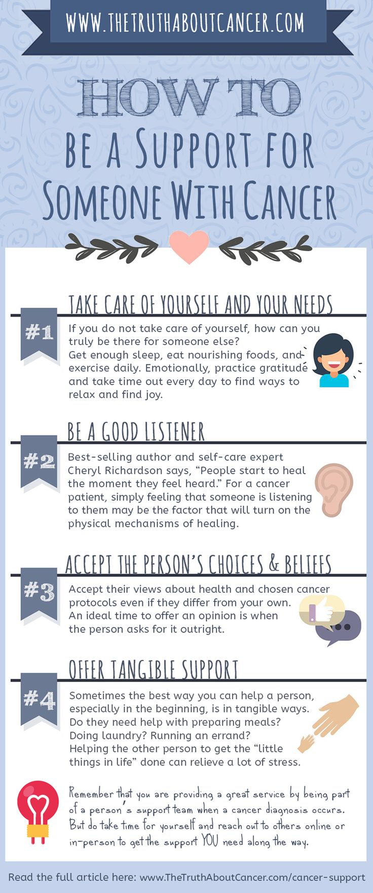 According to the American Cancer Society, three out of four households will experience a cancer diagnosis in their family at some point in their lives. Receiving cancer support is vital for the person going through a diagnosis. Sociological studies have proven that emotional support can affect immune system function, treatment outcomes, and even cancer mortality rates. Click on the image to discover 4 Ways to Provide the Best Support to Friends & Family who are Fighting Cancer.
