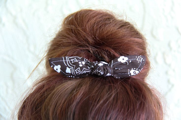 Knotted Bun Clip Hair Bows Brown Bandana Hair Bow Girl Teen Women Hair Accessory French Barrette Alligator Clip Hair Ties by Lorettajos on Etsy