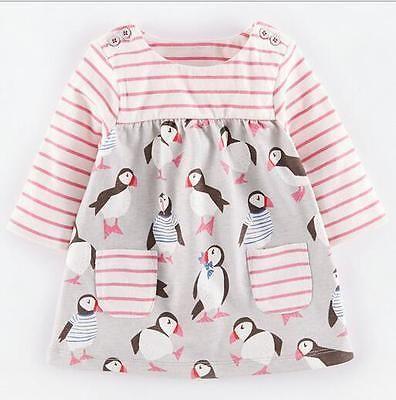 Kinder Mädchen Gestreift Tunika Kleid Baumwolle Vogel Longshirt Gr. 86-122