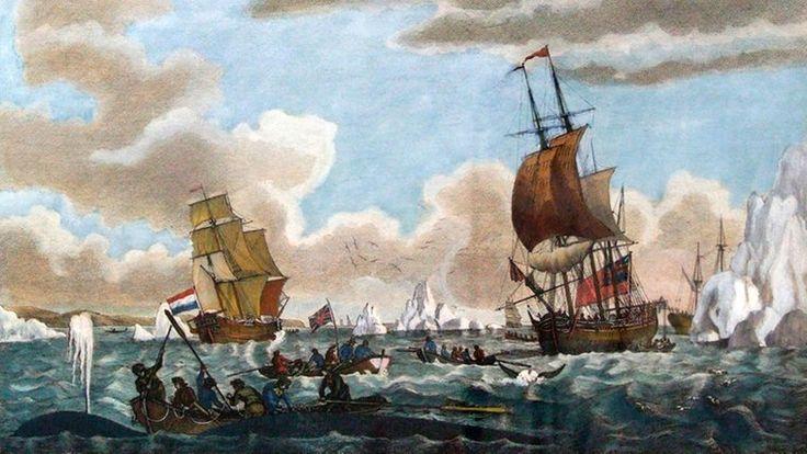 """1643 beginnt der norddeutsche Walfang Rund 250 Jahre lang zogen Tausende Norddeutsche im Frühjahr aus, um bis zum Spätsommer Wale zu jagen. Zunächst heuerten sie nur auf holländischen Schiffen an. 1643 schickten dann Hamburg und Emden als erste deutsche Städte Walfangschiffe ins Eismeer. Sie witterten das große Geschäft, nachdem sich bislang nur Niederländer und Franzosen an der Waljagd bereichert hatten. 1675 gingen bereits 75 Hamburger Schiffe auf """"Grönlandfahrt""""."""