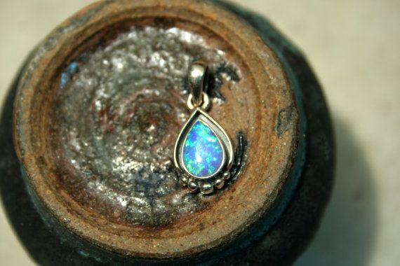Beautiful Solid Sterling and Blue Fire Opal by SilverMoonGalleria