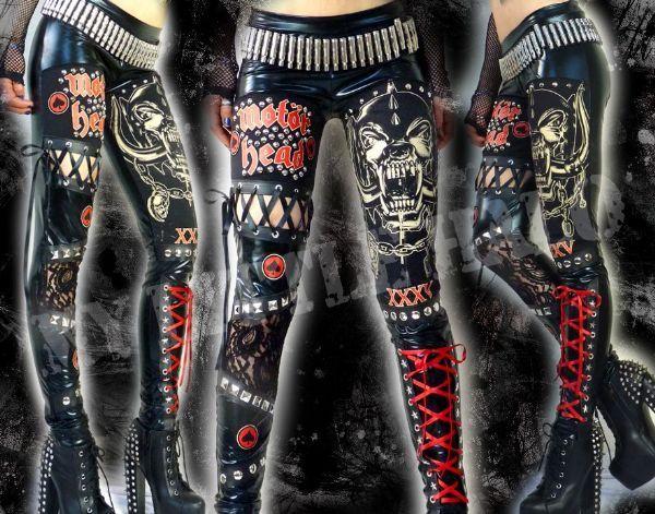 Red/black wet look, studded #motorhead leggings by My Little Halo Alternative Clothing #studdedleggings #rockclothing