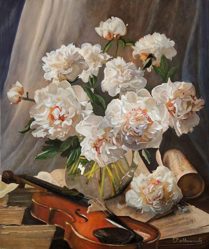 Peonie ze skrzypcami obraz olejny  Peonies with violin, Tomasz Mrowiński