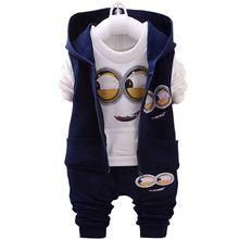 La Ropa del Bebé del Invierno de Algodón 2016 Niños Ocasionales de La Camiseta + Chaleco con capucha + Pantalones Trajes de Chicas Juegos de Ropa Para Niños V520(China (Mainland))