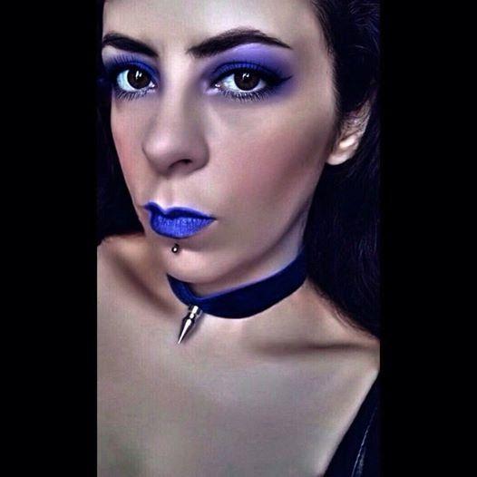 Gothic Blue Velvet Killer Spike Choker. by MordiasSolum on Etsy