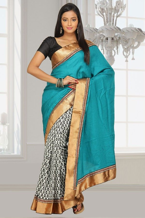 Jailakshmi Sarees is one of the leading manufacturers and exporters of pashmina with printed ghicha silk half half with attached uppada zardozi border that are available in a variety of attractive designs and are reasonably priced.