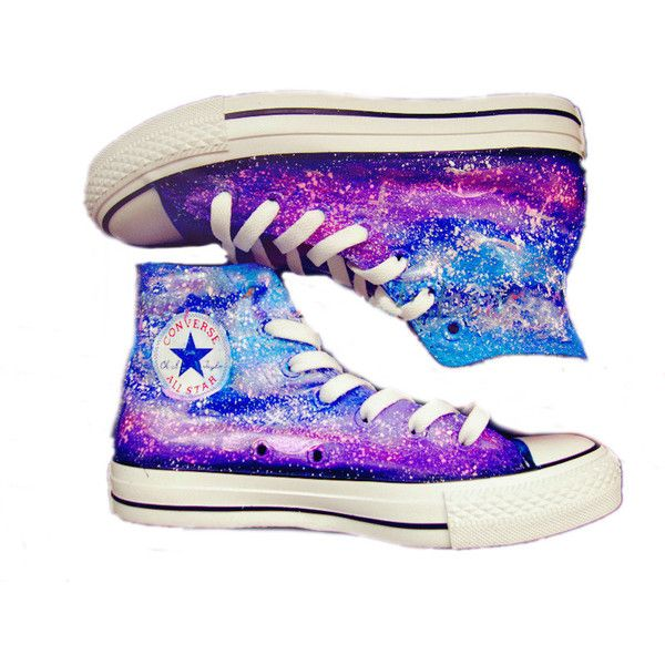 Galaxy Converse shoes Custom Converse Galaxy Converse Sneakers... ($60) ❤ liked on Polyvore featuring shoes, sneakers, converse, canvas sneakers, print sneakers, water proof shoes, cosmic shoes and patterned shoes