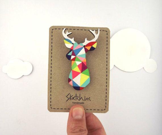 Geometric Deer Brooch Neon 'Stag Head' by SketchInc on Etsy