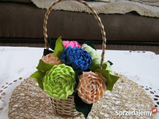 Kwiaty z bibuły krepy krepiny ozdoba domu Dekoracje i ozdoby Wyposażenie wnętrz…