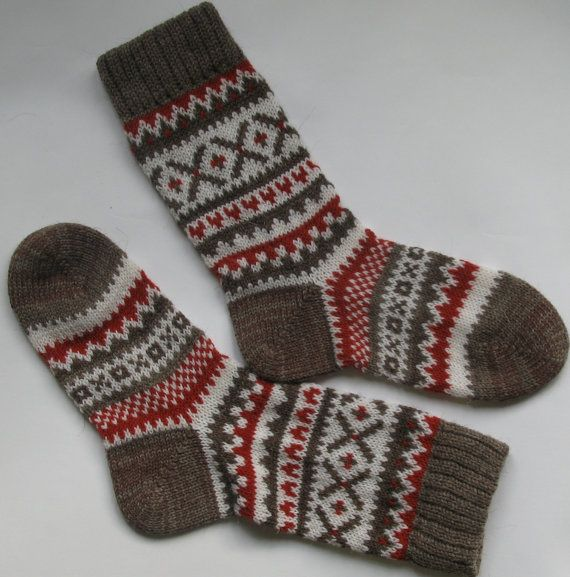 Grey white red warm autumn fall winter Scandinavian pattern
