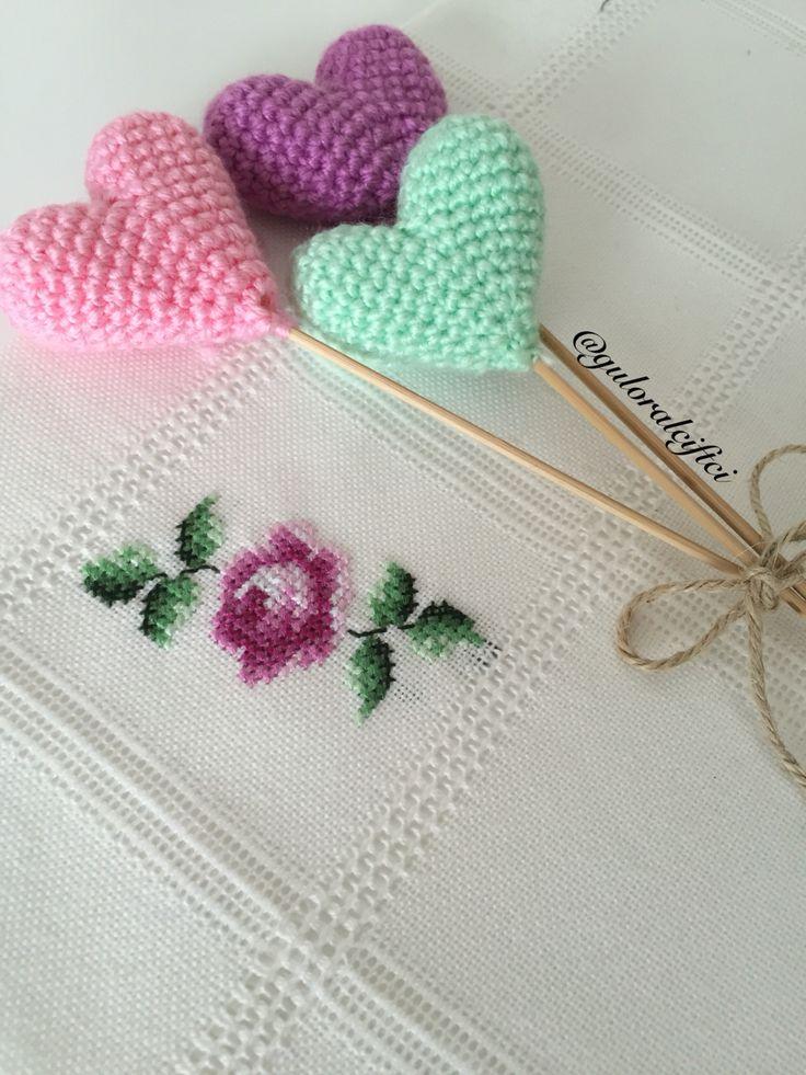 Details- detaylar - cross stitch - kanaviçe - amigurumi - peçete - kalpler
