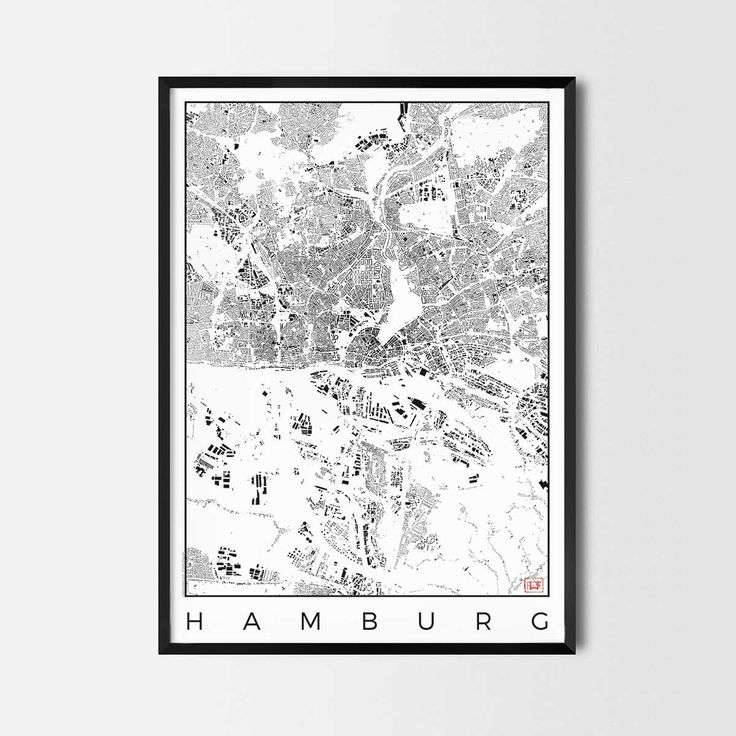Hamburg schwarzplan map art city posters. Unique interior decor idea for offices art posters or kitchen art prints.  Minimalist city art gifts for travelers as framed art or canvas wall art. Urban plan map style. print, poster, gift | CityArtPosters.com