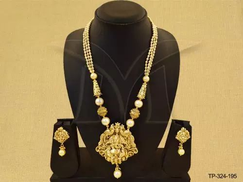 TP-324-195 || Temple designer pendant set jewellery