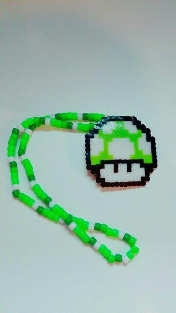 My Mario Mushroom necklace #kandi #mushroom #mario #perler #plur #edm #rave #raver #dance #necklace