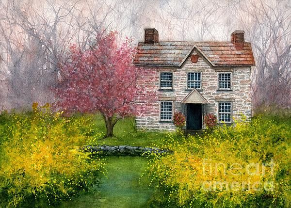 Old Stone House Spring Newburgh Ny By Janine Riley In 2020 Old Stone Houses Watercolor House Portrait Old Stone