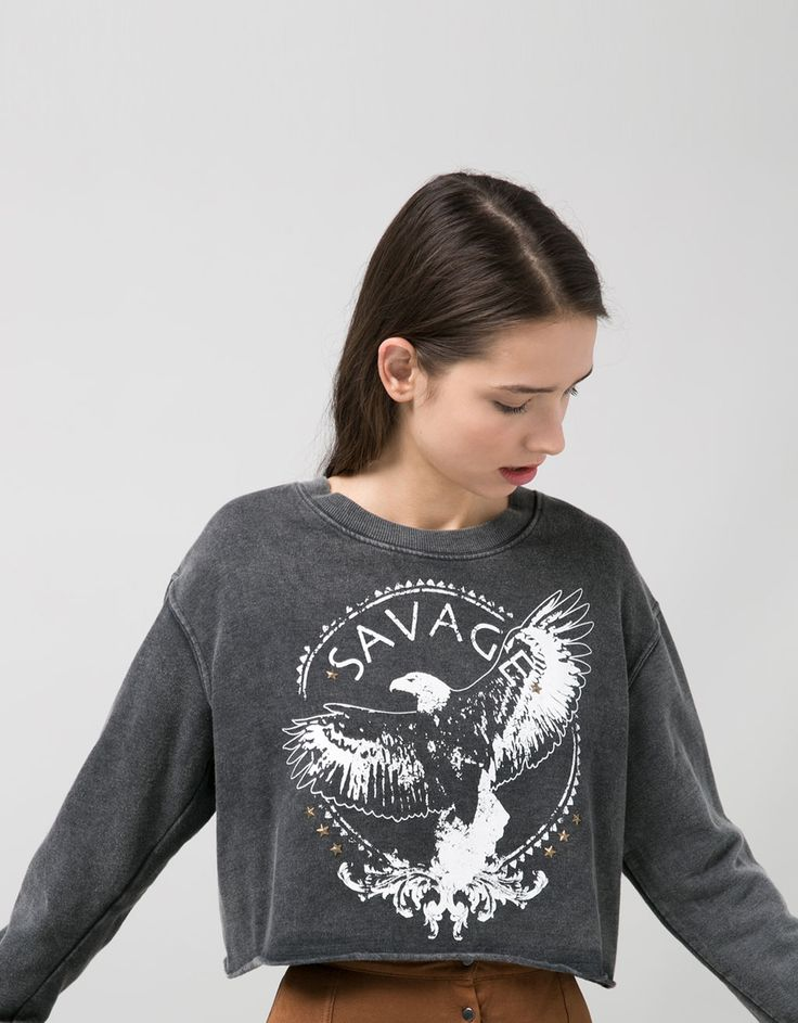 BSK acid wash sweatshirt with eagle print - Sweatshirts - Bershka United Kingdom