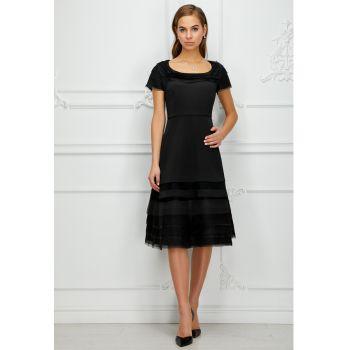 Платье из атласа и кутюрной органзы, цвет черный
