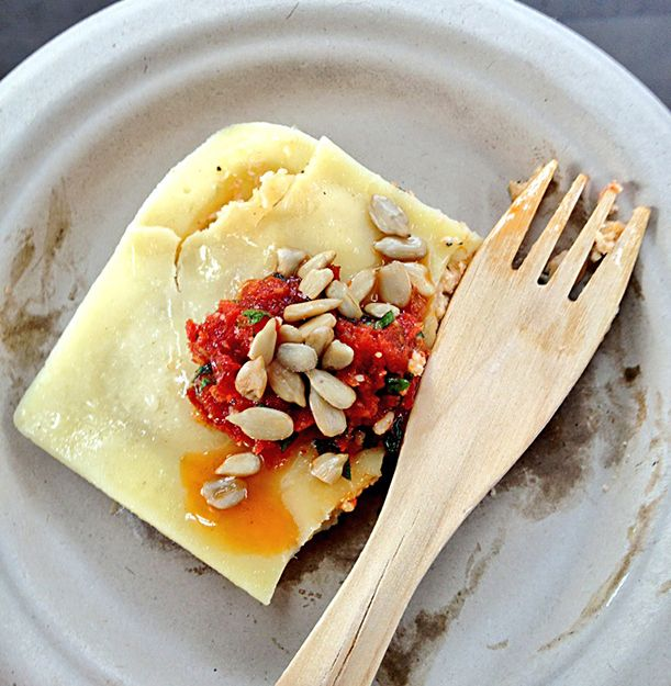 Jumbo Ravioli stuffed with grilled tomato and Asiago cheese from Eatlia in Burlington, Ontario.