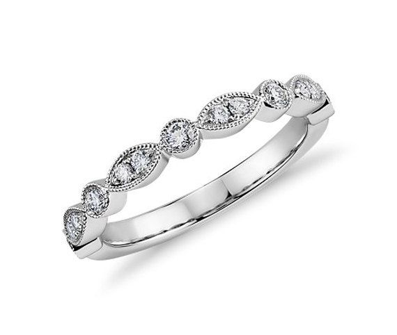 Art Deco Ring Half Eternity Band - .20ct Diamond Milgrain Wedding Band - 14K White Gold Yellow Gold/Rose Gold Available, Anniversary Ring
