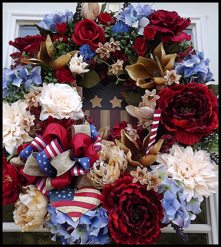 Patriotic Wreath--4th of July Wreath by Petal Pusher's Wreaths & Designs. FREE US SHIPPING.. $149.95, via Etsy.