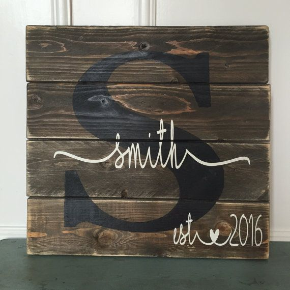 Last name sign Custom slatted wood sign square by HelloSugarPie