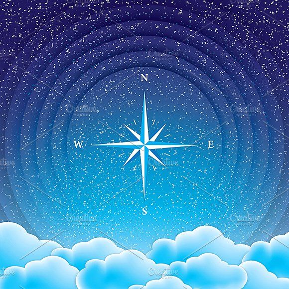 Compass Graphics Night starry sky with clouds and blue compass.Vector illustration.Included files: .AI (CS4, CMYK by gigello