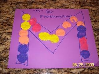 M is for Marshmallow Painting- cute Preschool or Kindergarten art