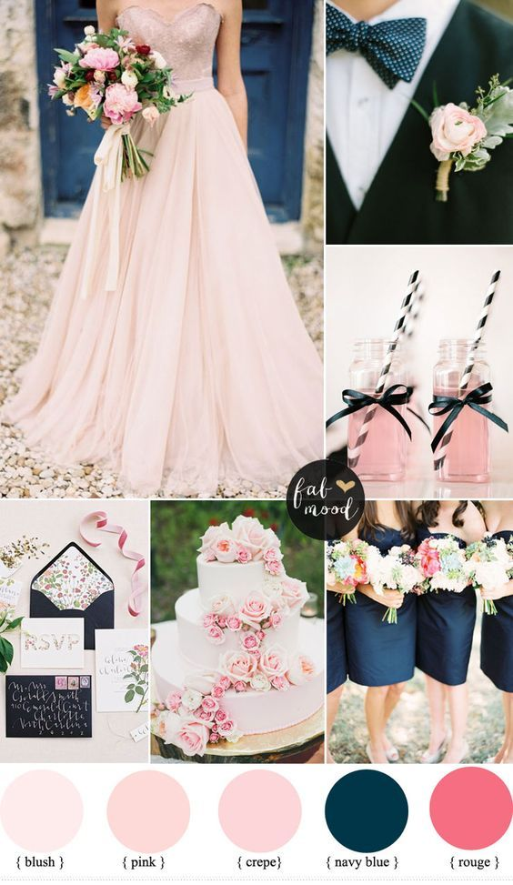 El azul marino es una muy buena elección para complementar el tono blush de tu boda. El truco para la decoración de una boda romántica en blush es elegir una paleta de colores que se complementen y contrasten a la vez.