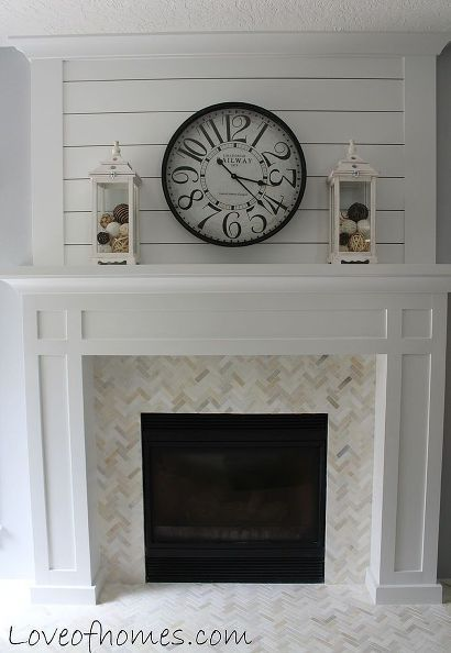 fireplace plank tile before after, fireplaces mantels I love the herringbone look - maybe we could to this for our backsplash in the kitchen