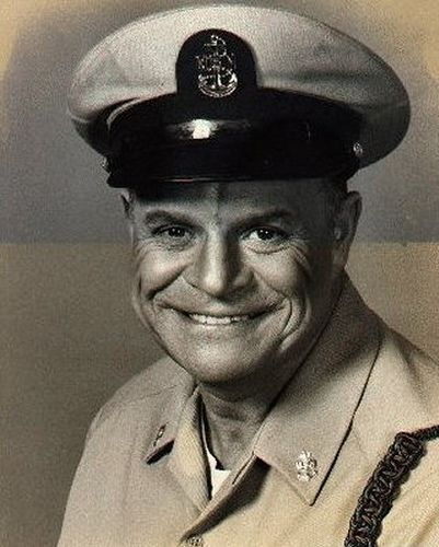 """Don Rickles (1926- ) Seaman 1st Class USN 1941-46 WW II. Enlisted in the Navy after high school graduation. Served on the USS Cyrene, a torpedo boat tender, in the Pacific.  Stand-up comic and actor in more than two dozen films but best remembered as an """"insult"""" comic, frequent guest on the Johnny Carson Show, and in title role of TV's """"C.P.O. Sharkey"""" (above photo) 1976-78."""