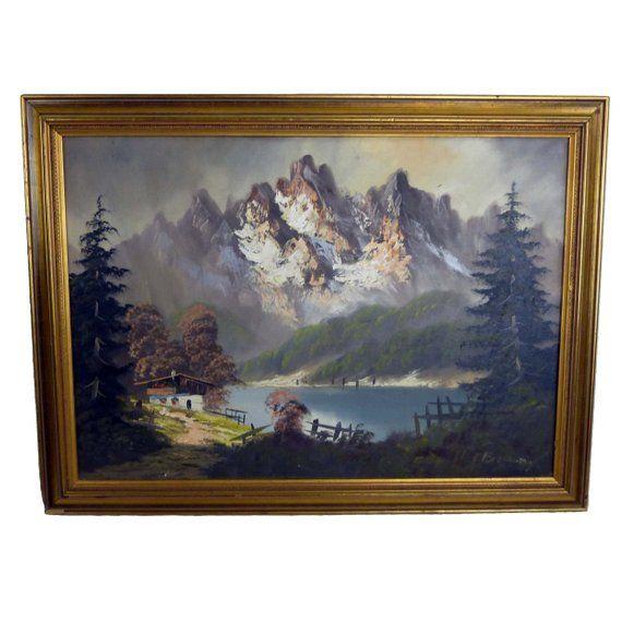 Landscape Oil Painting German Or Austrian Mountain Chalet On Etsy Painting Oil Painting Landscape Oil Painting