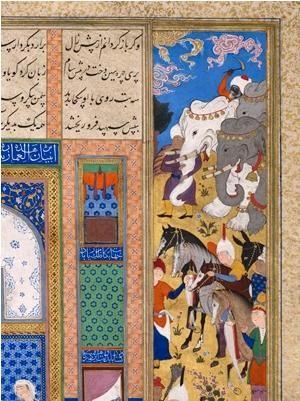 Sinduht, Sam'ın sarayına hediyeler getiriliyor; İran, Tebriz 1522-1535 civarı. Şah Tahmasp Şehnamesi'nden yaprak (37v) Kağıt üzerine opak suluboya, mürekkep ve altın yaldız 46,5 x 31,2 cm  Env. No. AKM00496