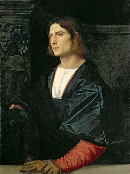 Titian–Tiziano Vecelli or Tiziano Vecellio (Italian c. 1488/1490–1576) [High Renaissance] Young Man with Cap and Gloves. 1512-1515. Collection of the Earl of Halifax, Garrowby Hall, Yorkshire; on loan to National Gallery, London.