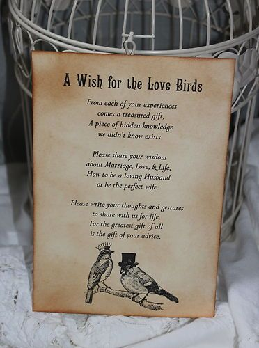 LOVE BIRDS-Wedding-Wish Poem-Birdcage-Vintage Style-Unique-Tree Alternative | eBay