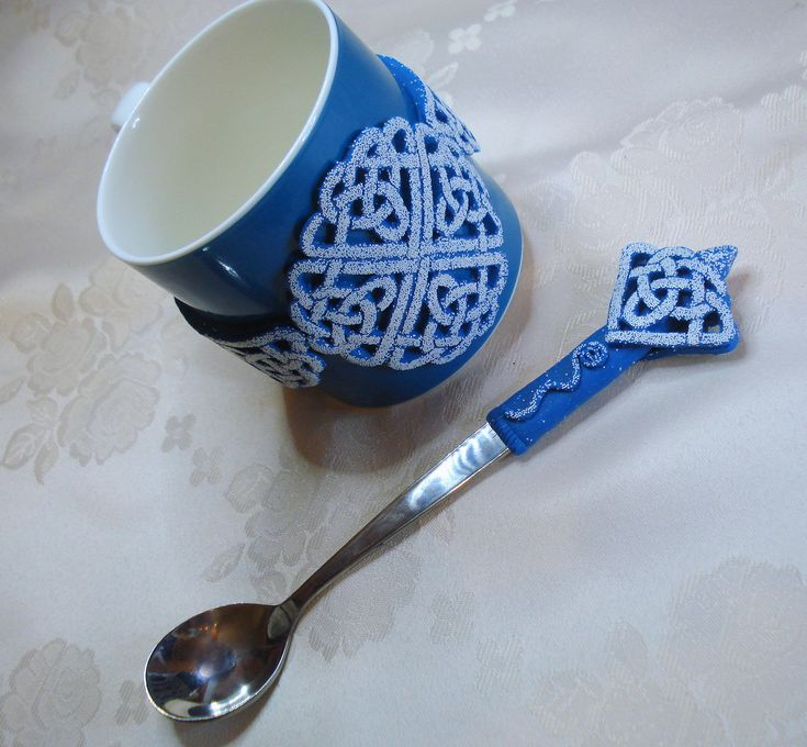 https://flic.kr/p/Cqsb4u | Celtic Blue - mug and spoon