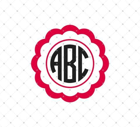 Free Scalloped Circle monogram frame SVG Cut Files for Cricut Explore Design Space Silhouette Cameo Studio Brother Scan N Cut Canvas
