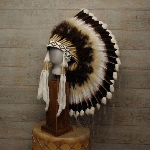 Coiffe indienne Navajo, plumes d'oie, lapin, crin de cheval. | Harpo Paris