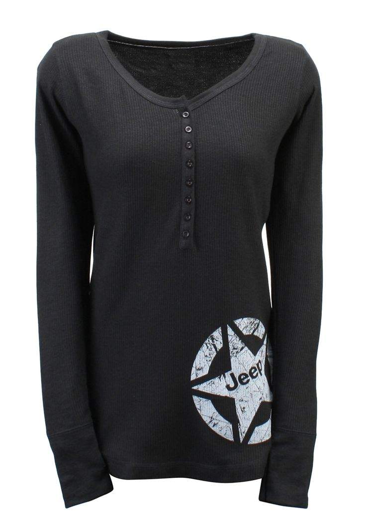 I think my wife would make this look good, gift idea? I think so. Jeep Gear: Product'Women's Thermal Henley'