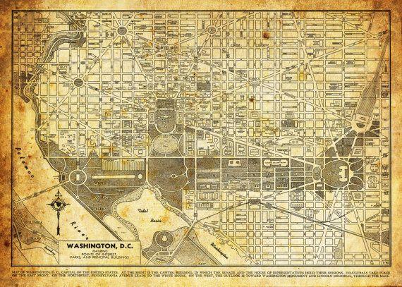 Washington DC Map  Street Map Vintage Sepia Grunge by TheMapShop