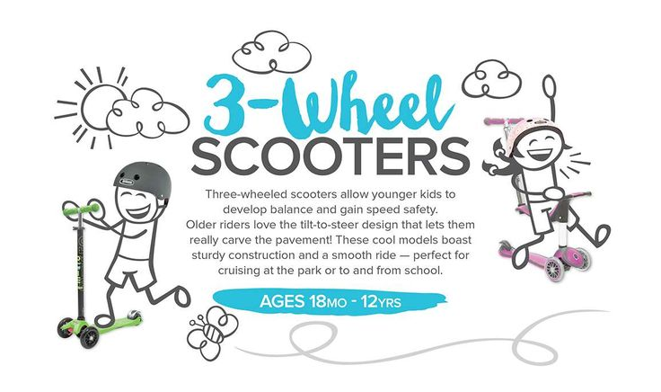 """3-Wheel scooters help younger riders develop balance and speed safely and older riders love carving the pavement with the cool """"tilt-to-steer"""" design! http://www.mastermindtoys.com/Scooters-Three-Wheeled-Scooters.aspx"""
