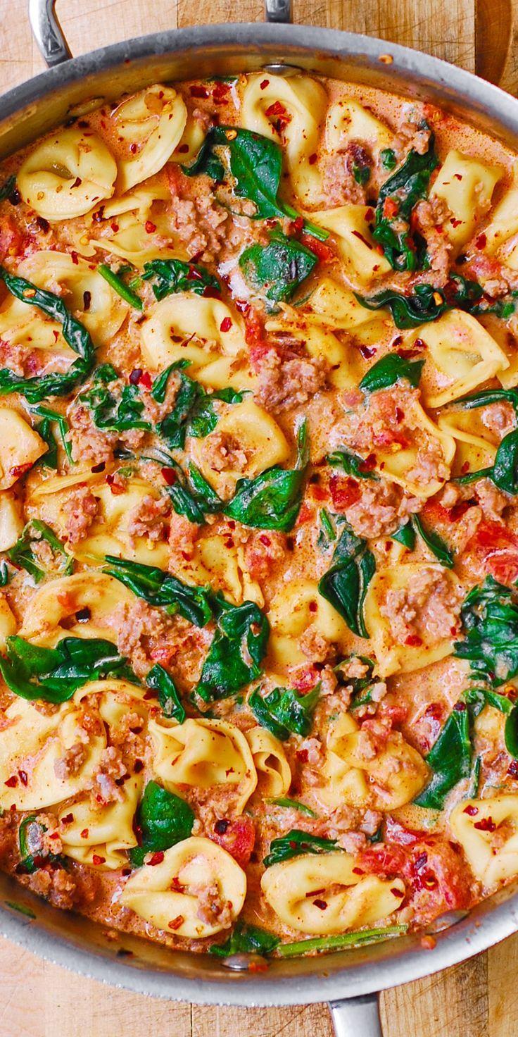 Creamy Mozzarella, Sausage, Spinach, and Tomato Tortellini - easy pasta dinner!
