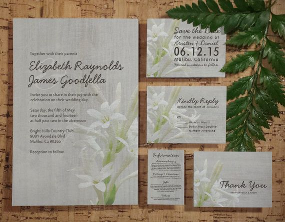 Vintage Tuberose Wedding Invitation Set/Suite by InvitationSnob