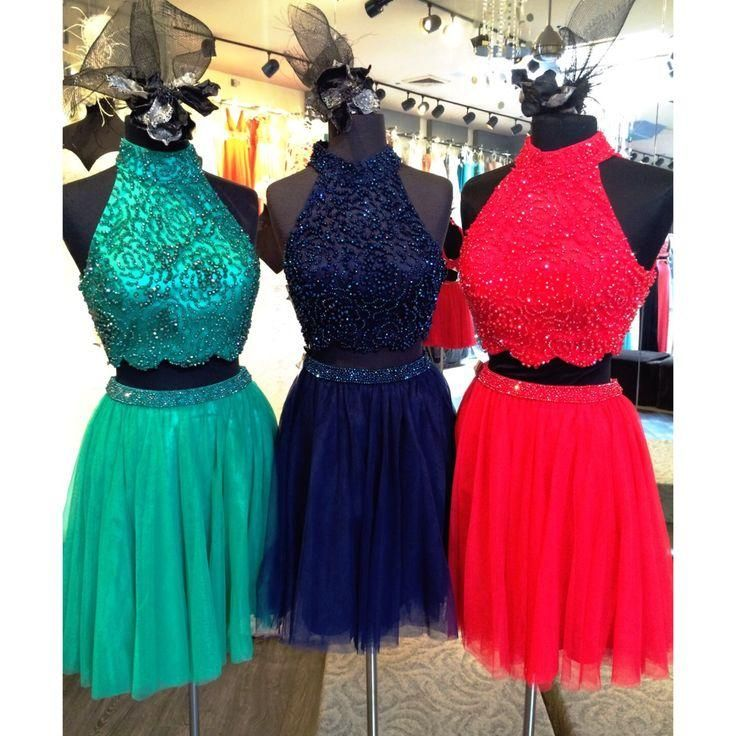 Halter Two Pieces Homecoming Dress,Sexy Party Dress,Charming Homecoming Dress,Cheap Homecoming…