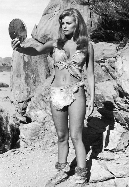 Raquel Welch checking her cave woman makeup in One Million Years BC