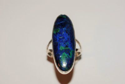 Azurit/Malakit, ring i äkta silver stl: 19mm AAA