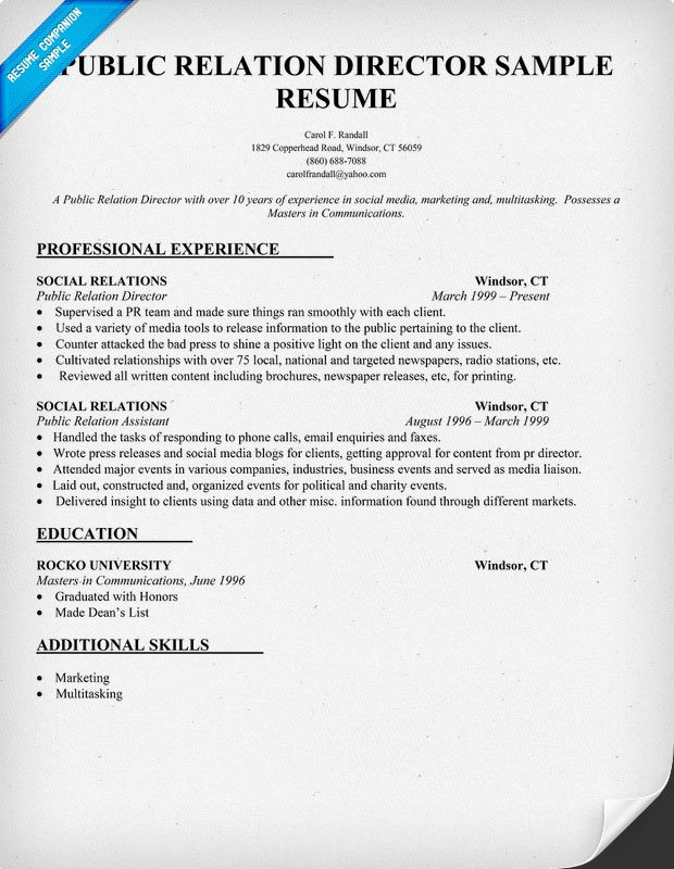 Public Relation Director Resume Sample #PR (resumecompanion - new massage therapist resume examples